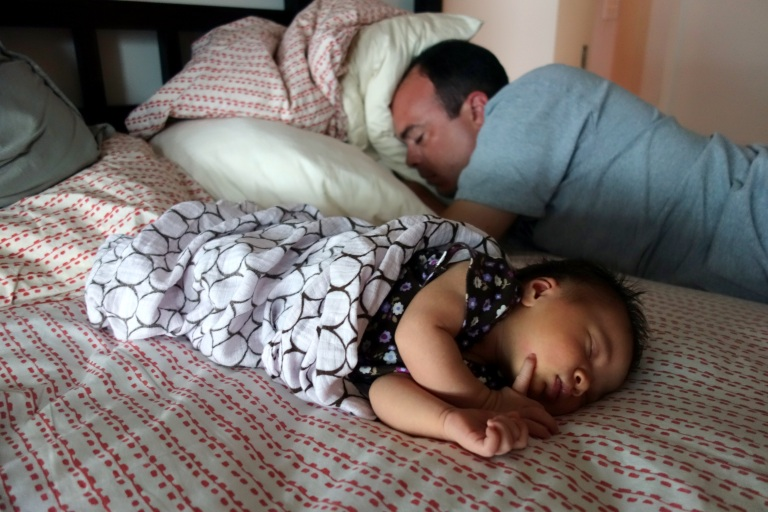 Isa and Daddy take a Sunday afternoon nap together.