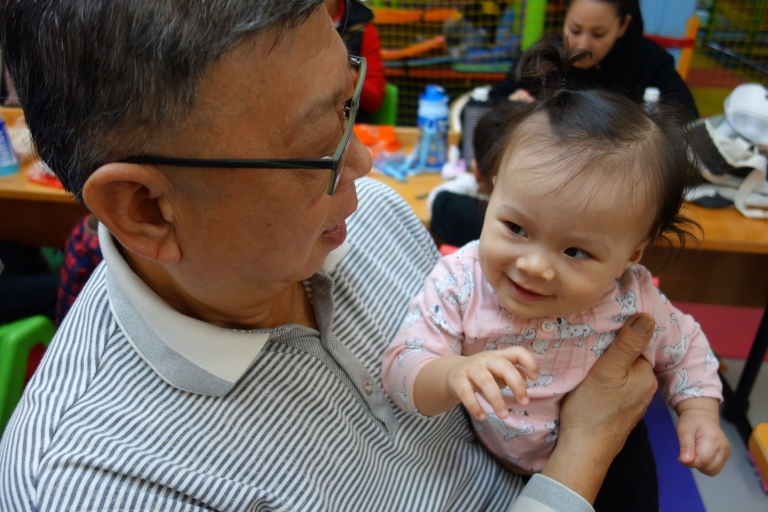 Opa and Isa hung out while we took Eva to the Kids Playland near the Okinawa hotel on Saturday morning. There was a baby area where Isa also got to crawl around, but she preferred just hanging with Opa.