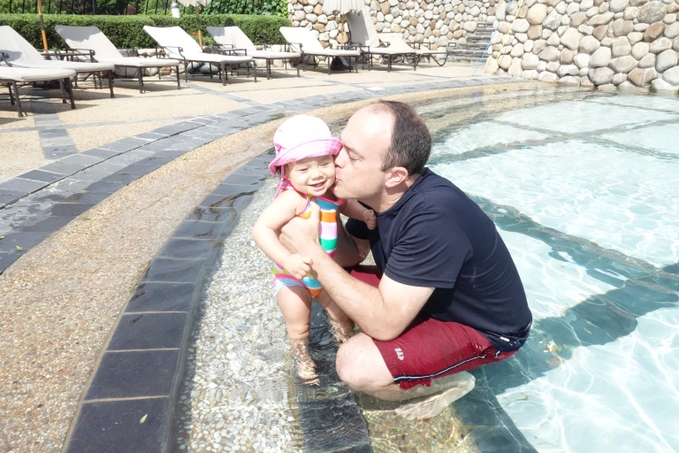 Isa and Daddy at the Hyatt in Seoul.