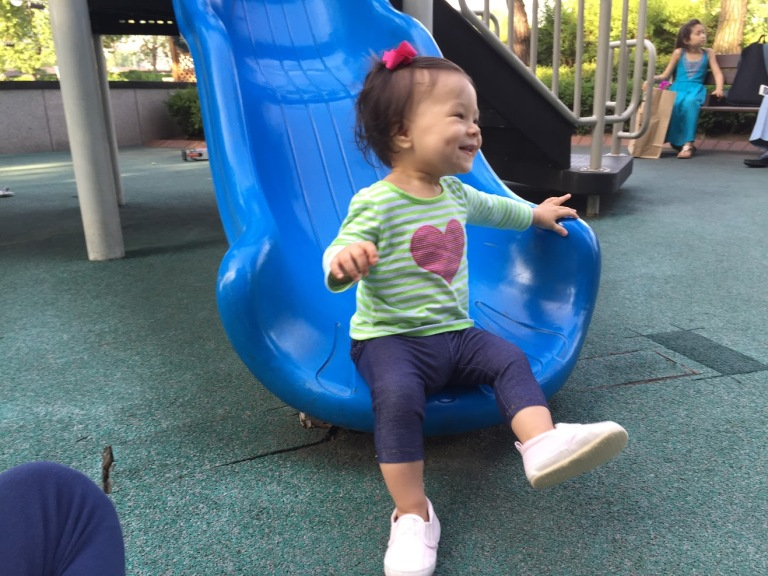 Playground time with Momma, who's back from her assignment in Beijing.